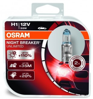 Лампа Osram 12В H1 55Вт +110% NIGHT BREAKER UNLIMITED